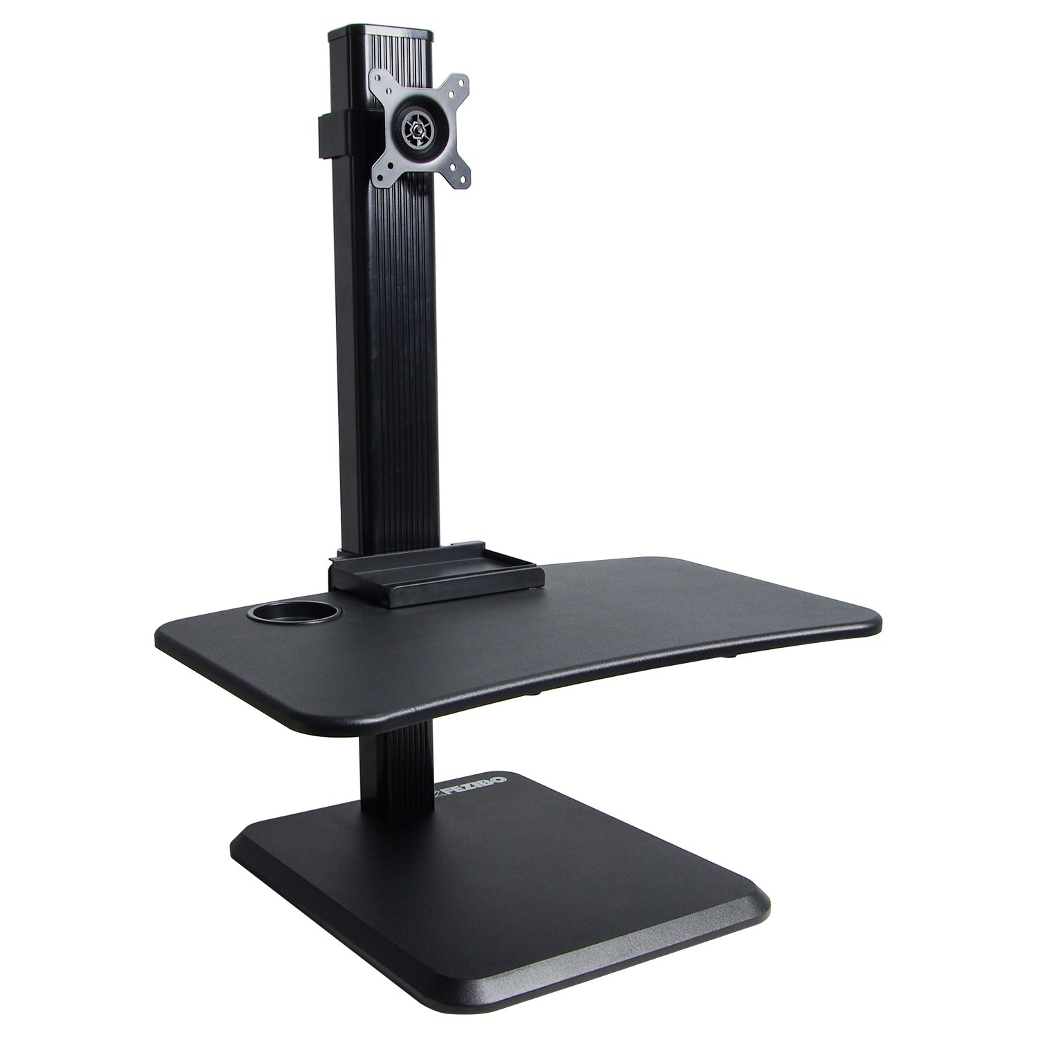 FEZIBO Single LCD Computer Monitor Free-Standing Desk Stand with Height Adjustable | Holds One (1) Screen 13'' to 32''