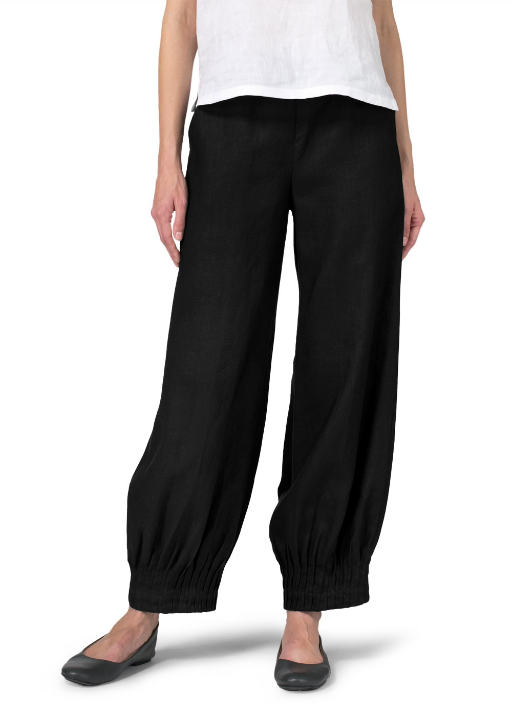 Vivid Linen Pleated Cuff Ankle Length Pants-S-Black