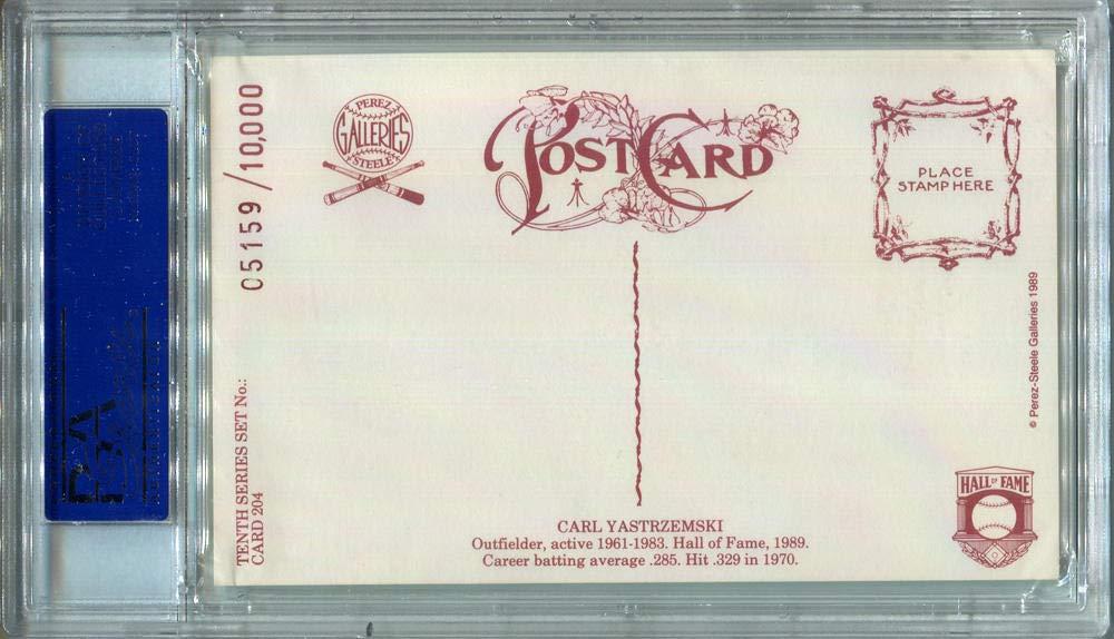 1989 Carl Yastrzemski Signed Perez Steele Postcard #204. PSA Authentic