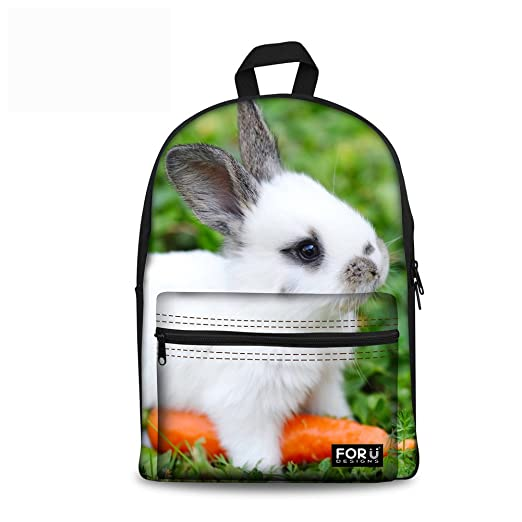 152252ac906f UNICEU Rabbit Pattern School Backpack Casual Daypack Travel Outdoor for  Teen Girls
