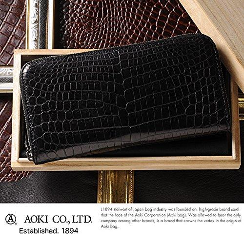 (ラゲージアオキ1894) Luggage AOKI 1894 青木鞄 クロコダイル ラウンドファスナー長財布 ブラック No.2483-10 メンズ 日本製 ワニ革 B019W0495K