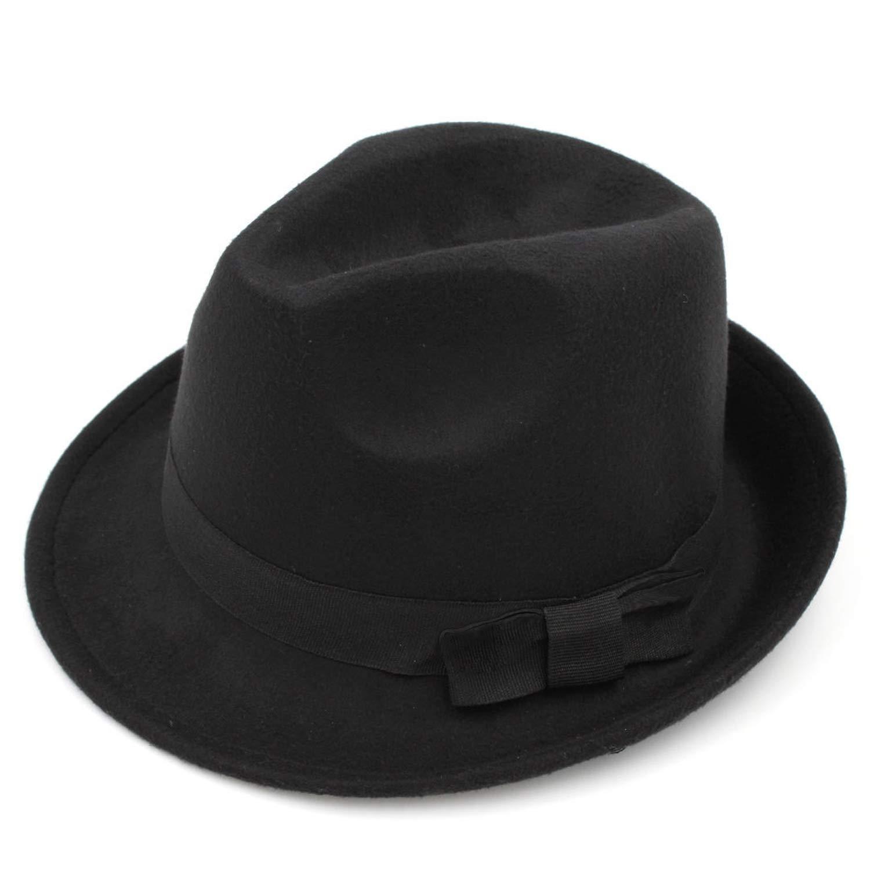 DOSOMI Boys Girls Rolled Brim Trilby Fedora Hat Vintage Child Pinch Crown Jazz Cap