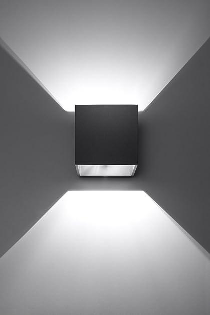 K-Bright 12W Lampe murale contemporaine en aluminium noir avec ...