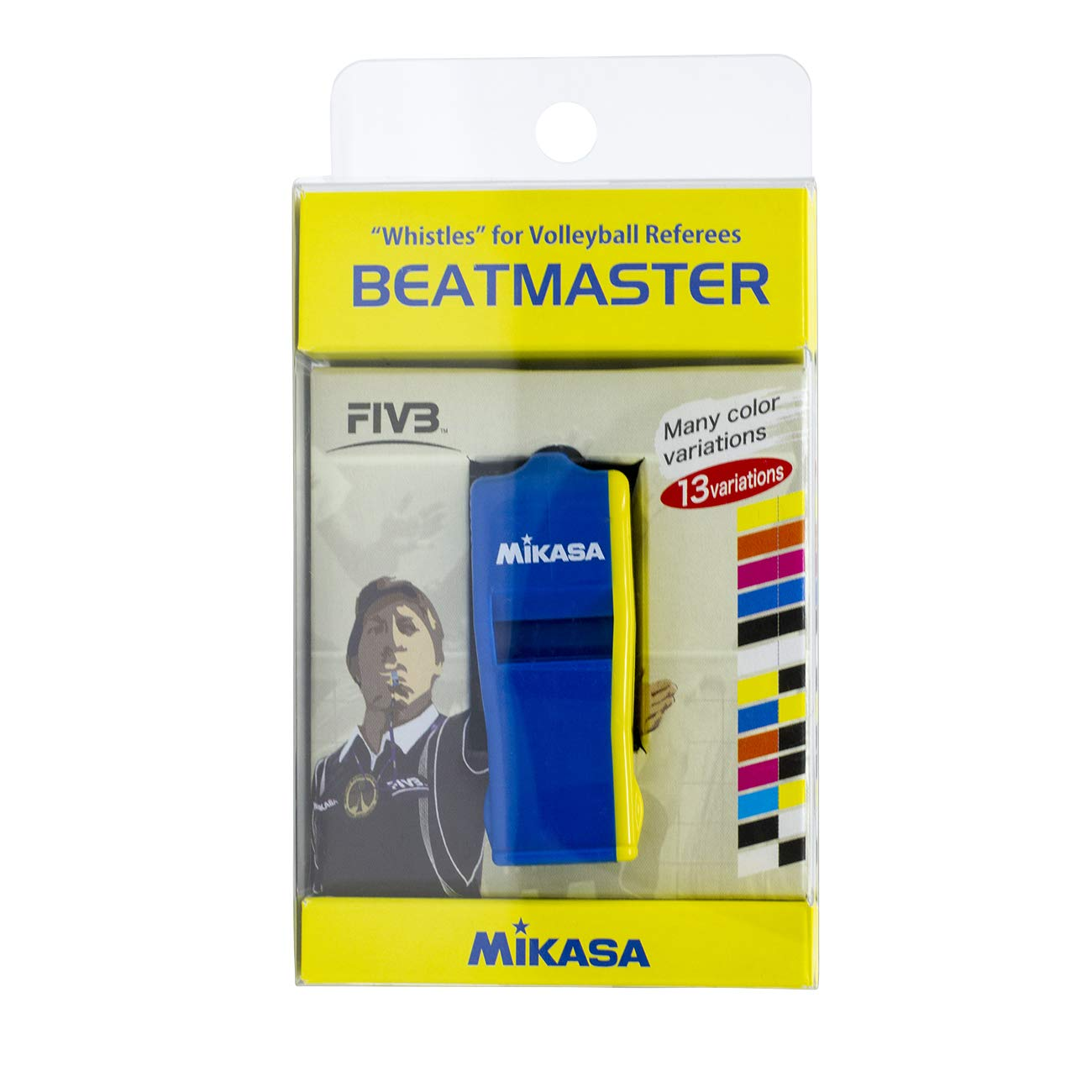 Mikasa Professional Whistle with Lanyard, Small, Blue/Yellow by Mikasa Sports