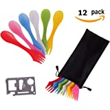 12 Pack Sporks,Durable & BPA Free Tritan Sporks,Spoon Fork & Knife Combo Utensils,6 Colors,Best Flatware Mess Kit Camping&Outdoor Activities Bottle Opener Portable Bag