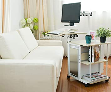 Merveilleux UNHO Lazy Computer Trolley Desk PC Table Sofa Bed Side Computer Desk With  Shelves Magazine Book