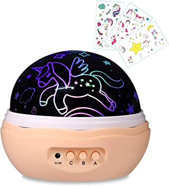 Luz nocturna para niñas, proyector de unicornio, 4 luces LED, 8 ...