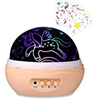 Unicorn Gifts for Girls,Night light for Kids,Projector Lamp,Unicorn light, Gifts for her,1-12 year old girl gifts(Included 3 Children Temporary Tattoos)