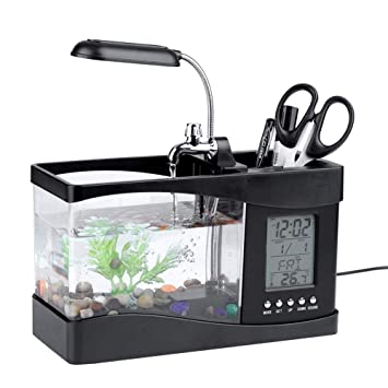 Asixx Peceras Pequeñas, Mini Acuario, de Plástico, con La Pantalla Digital LCD, Luz LED, para El Hogar Y Oficina, Etc(Negro): Amazon.es: Hogar