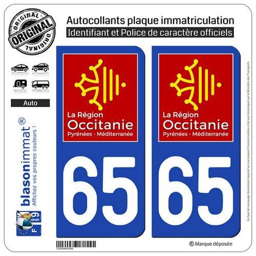 Logotype blasonimmat 2 Autocollants Plaque immatriculation Auto 65 Occitanie