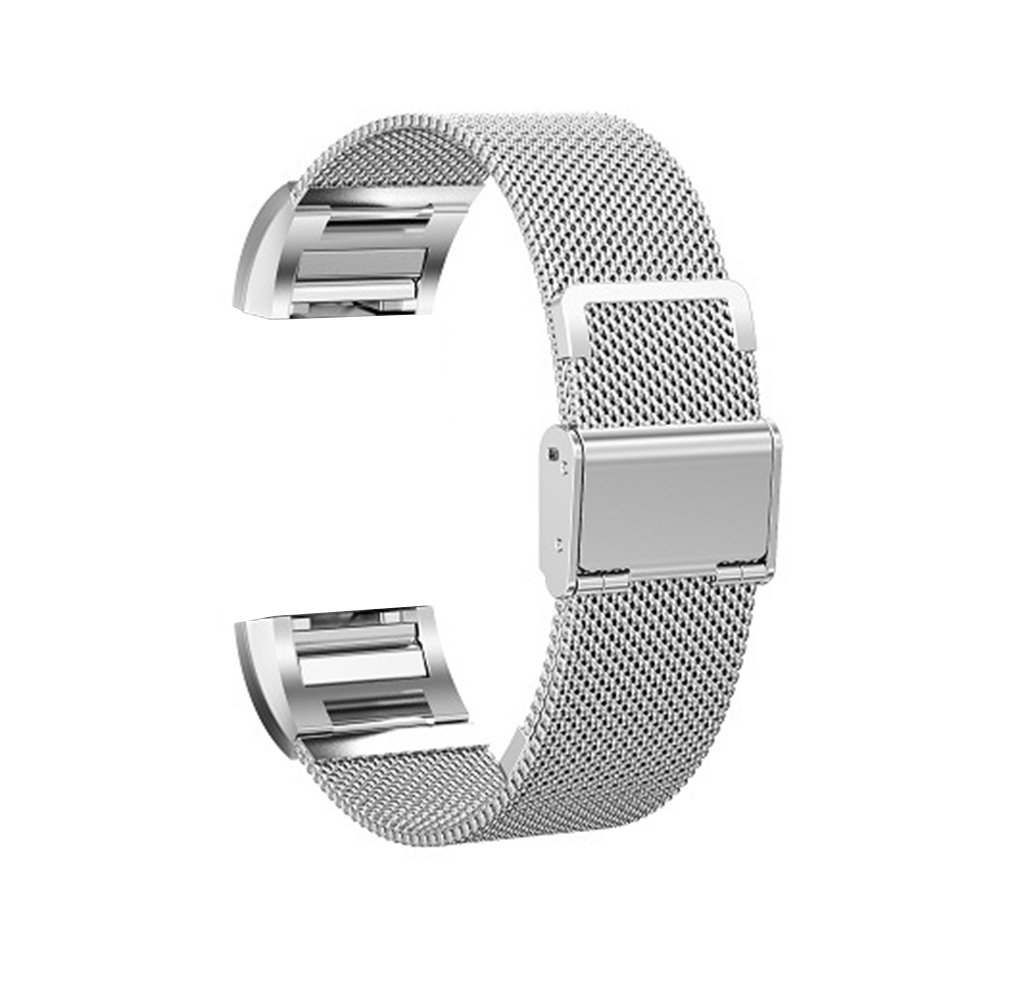 Exquisite Stainless Steel Milanese Watch Band Straps for Fitbit Charge 2 Mesh Metal Hook Clasp Silver