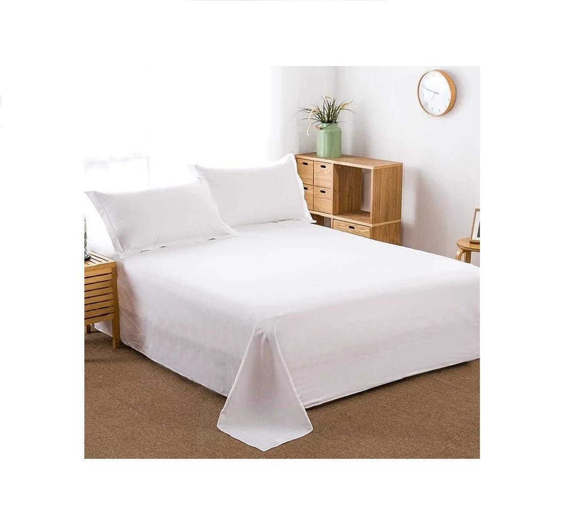 100% Cotton Flat Sheet Only- Superior Quality,Soft,Silky,Skin friendly,Breathable,Comfortable Bed Sheet (Twin, White) by Shentao