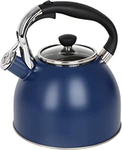Rorence Stainless Steel Whistling kettle: 2.5 Quart with Capsule Bottom & Heat-resistant Glass Lid – Navy Blue