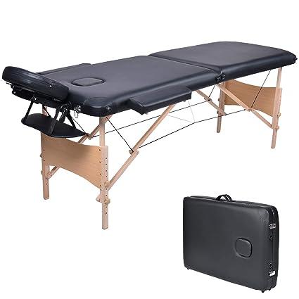 Lettino Massaggio Professionale Pieghevole.Wellhome Lettino Da Massaggio 2 Zone Legno Pieghevole Portatile Lettini Massaggi Professionale Tavolo Da Massaggio Tattoo Fisioterapia Con Borsa Da