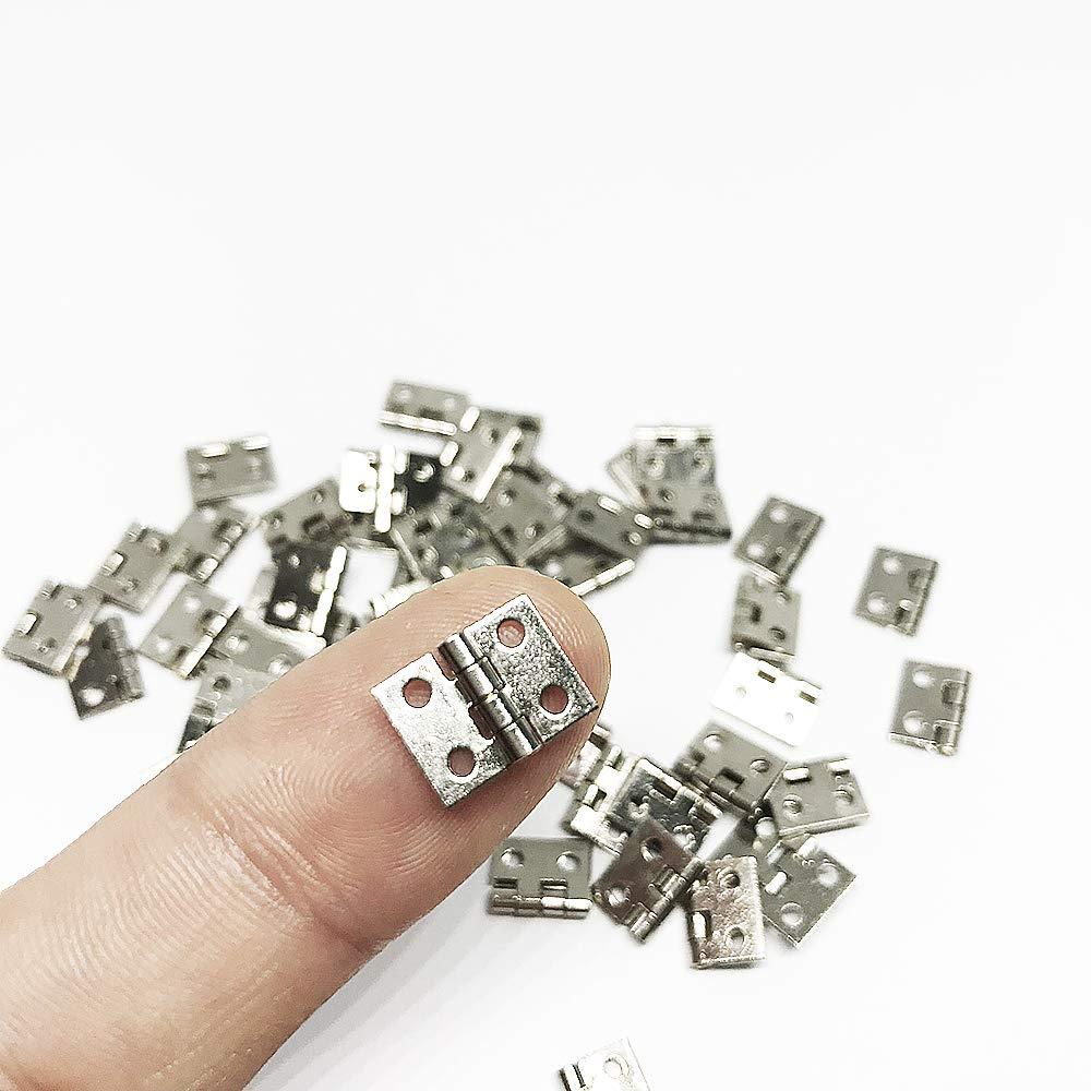Juland 50 Piezas Mini bisagras de cobre puro retro con tornillos de repuesto de 200 piezas para caja de madera Cofre joyas Gabinete de accesorios de bricolaje N/íquel 10 x 8 mm // 0.4 x 0.3 pulgadas
