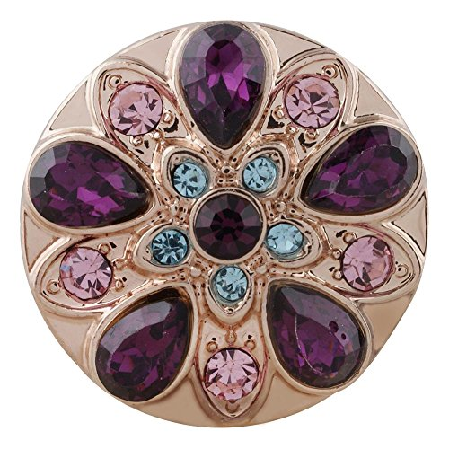 (Snap Charm Rose Gold Purple Pink Turquoise Crystals 20mm Standard Size 3/4