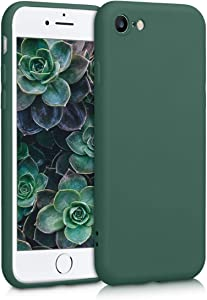 kwmobile Case Compatible with Apple iPhone 7/8 / SE (2020) - Soft Rubberized TPU Slim Protective Cover for Phone - Moss Green