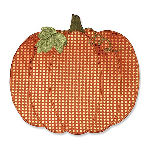 Pillow Perfect Pumpkin Sequin Placemat (Set of 2), Orange