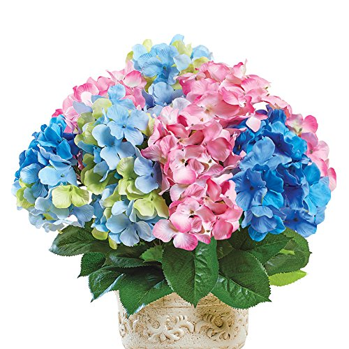 Artificial Pastel Multicolor Hydrangea Bush Floral Planter Picks, Set of 3 - for Indoor Outdoor Use