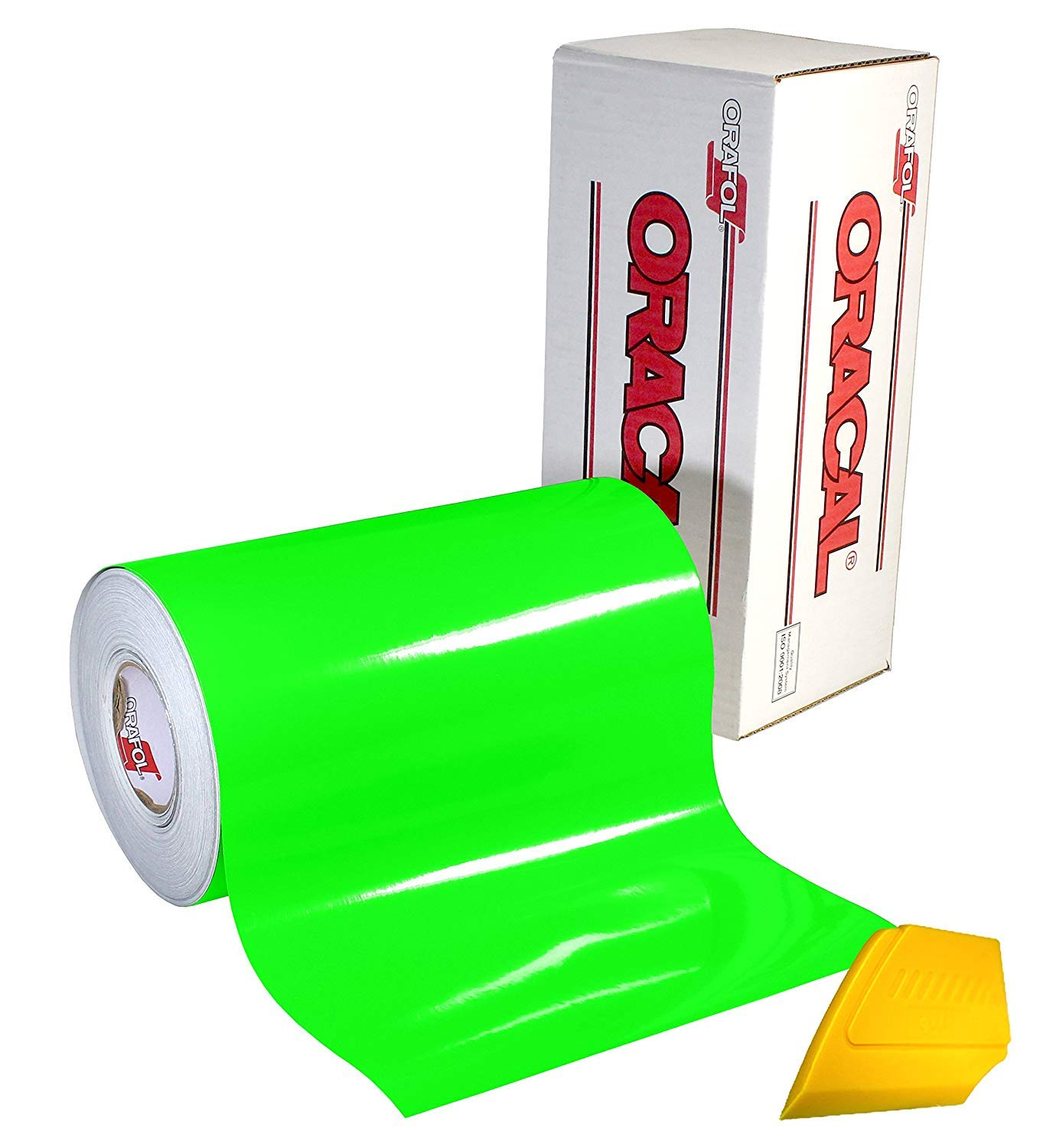 Orafol Oracal 6510 Fluorescent Green Cast Vinyl Wrap 12 X 24 Roll For Cricut Silhouette Cameo Including Hard Yellow Detailer Squeegee 1 Roll