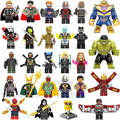EvelynSemple Set of 27 pcs / a lot of Superheroes Have Started M-Arvel Av-engers Infinity War T.hanos H.ulk Ir.on Man Sp-iderman Build Children's Toy Blocks for Children
