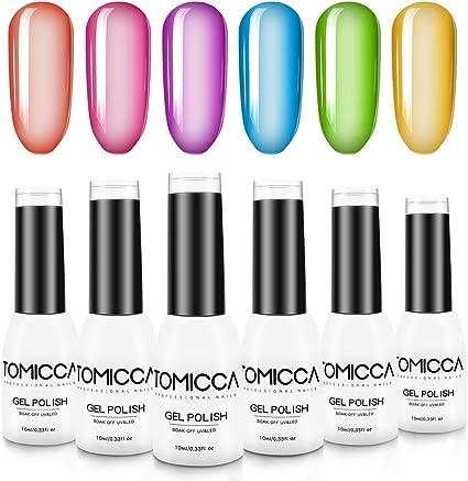 TOMICCA Crystal Rainbow Esmalte de Uñas Semipermanente Uñas de Gel UV LED Kit de Manicura en Caja Pintauñas Soak off 6 * 10 ml: Amazon.es: Belleza