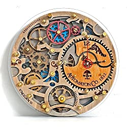 Personalized wooden Automaton wall clock 1832 HANDCRAFTED by WOODANDROOT unique industrial wooden decorotive steampunk, one-of-a-kind, victorian home decor