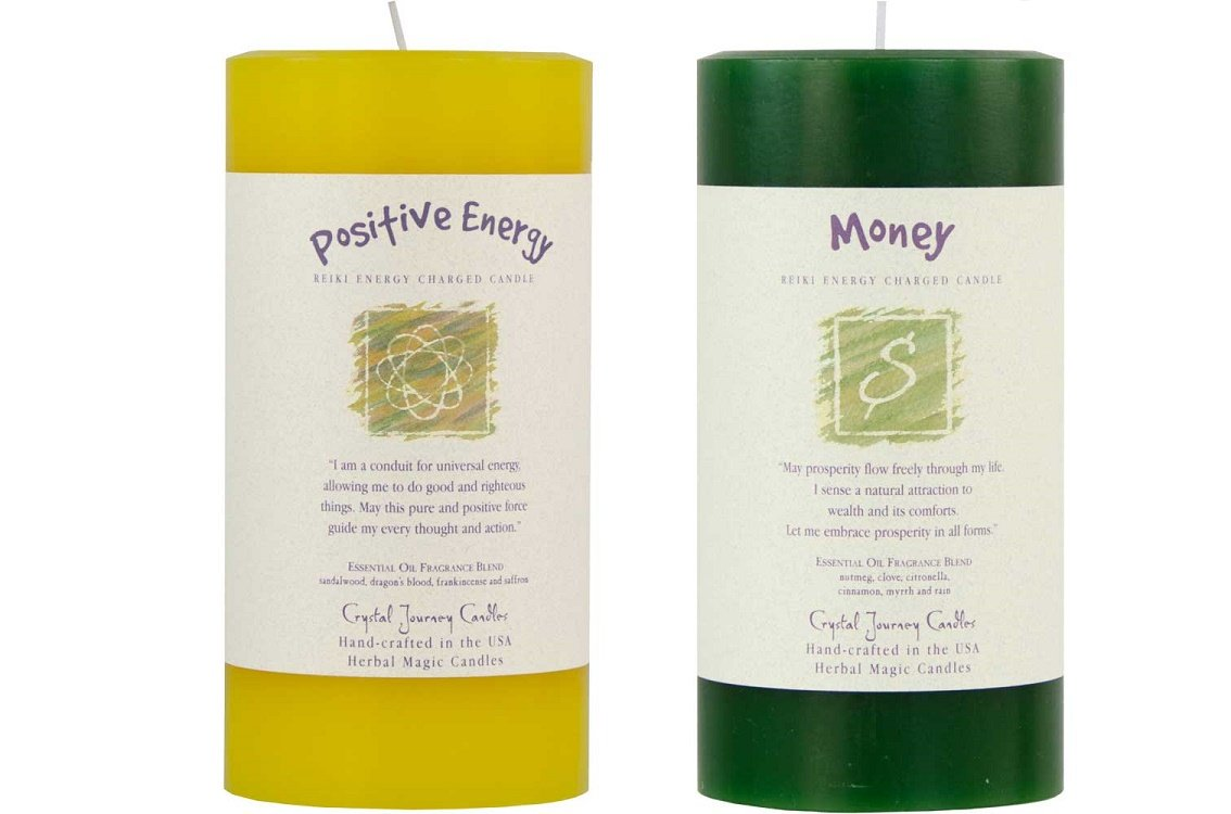 6'' x 3'' Crystal Journey Reiki Charged Herbal Magic Pillar Candle Bundle (Positive Energy, Money)