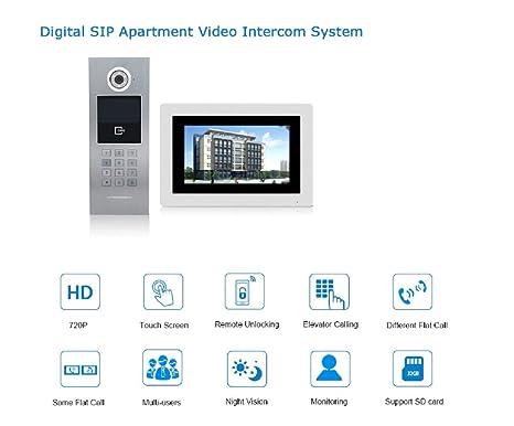 Amazon com : 7'' WiFi IP Video Door Phone Intercom Wireless Door