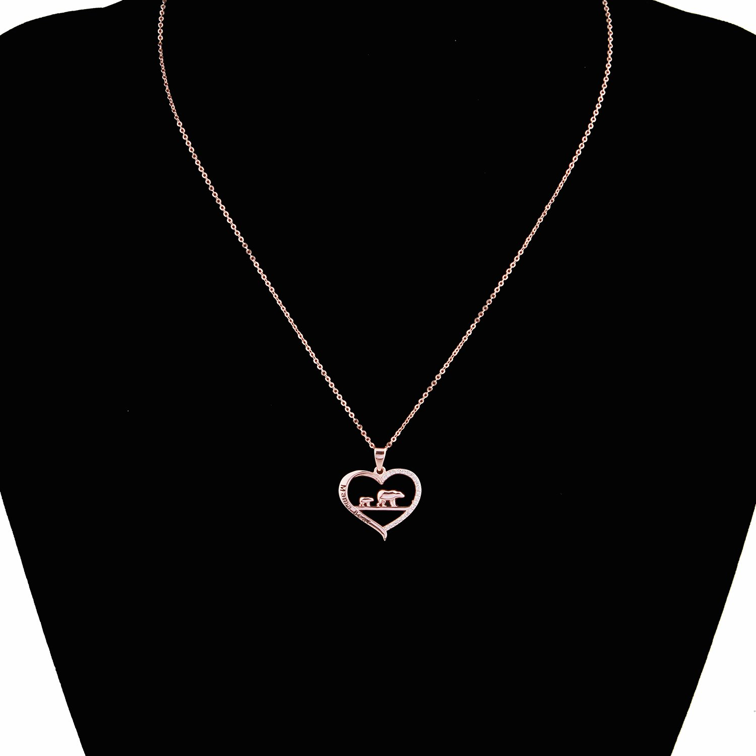 ENSIANTH Mama Bear Necklace Heart Pendant Gift for Mothers Day
