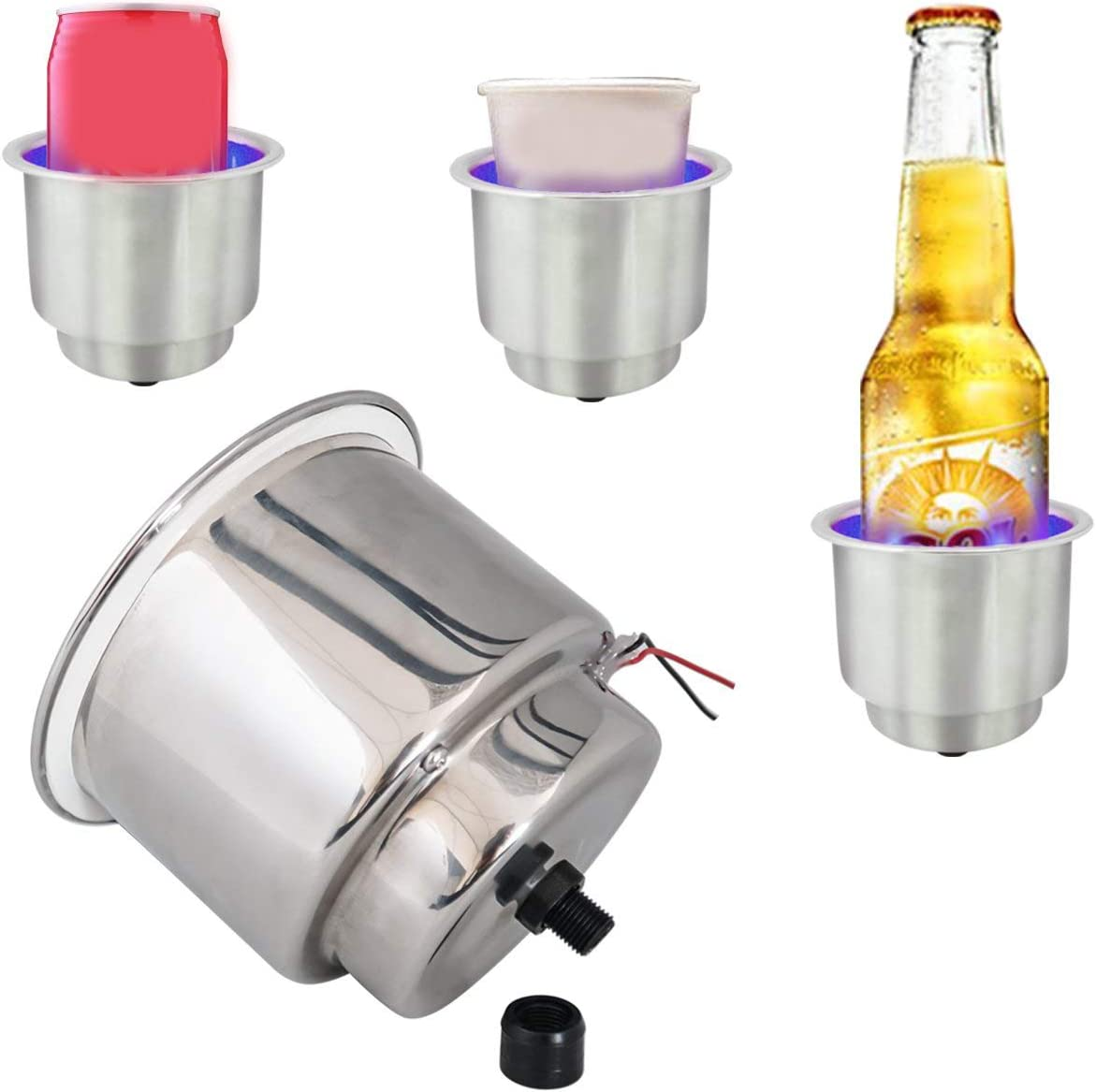 Monland 2 Pcs Led Light Drink Holder Blue 8 Led Recessed Stainless Steel Cup Drink Holder Cup Shape for Car Marine Boat