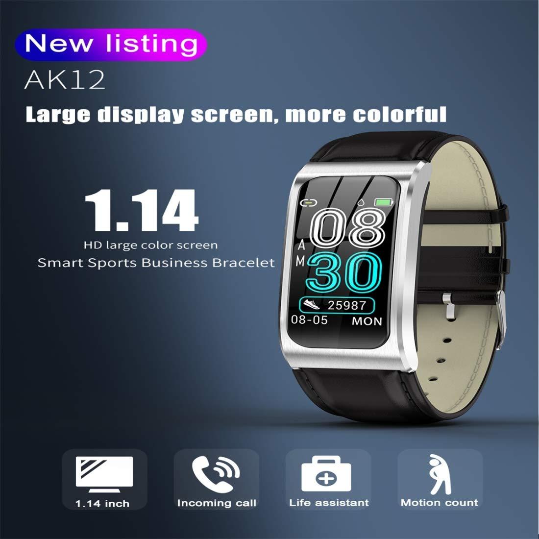 promemoria chiamate di supporto//monitoraggio della frequenza cardiaca//monitoraggio della pressione cinturino in pelle AK12 Smartwatch IP68 con schermo a colori da 1,14 pollici IP68 impermeabile