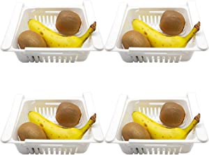 4 Pack Fridge Drawer Organizer, Retractable Refrigerator Storage Box, Food Fresh-keeping Classified Organizer Container Pull Out Basket, Small Size, Fit for Fridge Shelf Under 0.5 inch