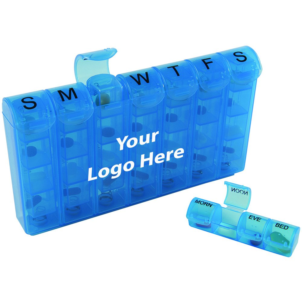 Compartment Med Minder - 100 Quantity - $4.60 Each - PROMOTIONAL PRODUCT / BULK / BRANDED with YOUR LOGO / CUSTOMIZED