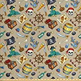Ambesonne Pirates Fabric by The Yard, Cheerful Sketch Cartoon Pattern with Adventurous Sea Travel Piracy Theme Elements, Decorative Fabric for Upholstery and Home Accents, 1 Yard, Beige