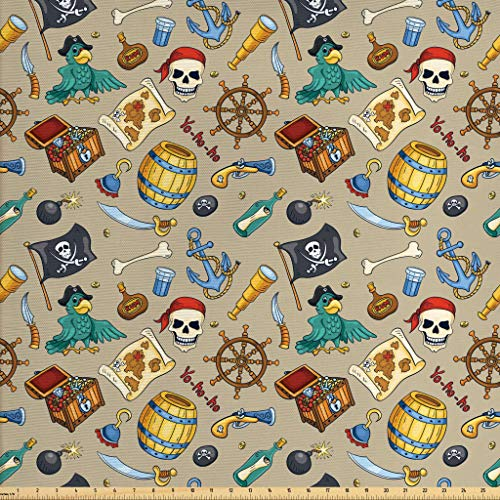 (Ambesonne Pirates Fabric by The Yard, Cheerful Sketch Cartoon Pattern with Adventurous Sea Travel Piracy Theme Elements, Decorative Fabric for Upholstery and Home Accents, 2 Yards, Multicolor)