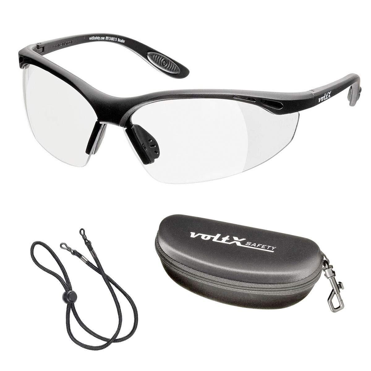 voltX 'Constructor' (TRANSPARENTES dioptría +2,00) Gafas de Seguridad con aumento total de lente (no bifocal), incluye cordón con tope regulable y funda rígida + Lente UV400 con recubrimiento antivaho