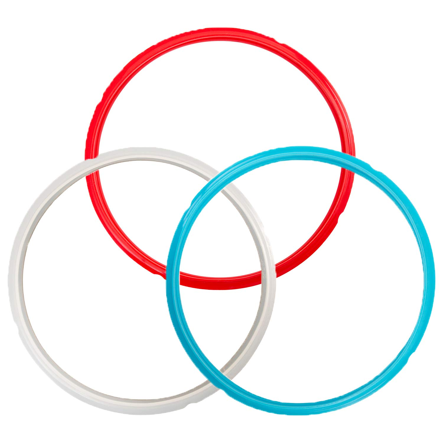 """Houseables Pressure Cooker Sealing Ring, for 6qt and 5qt Instant Pot, Diameter 9.5"""", 3 Pk, Silicone, Food-Grade Gasket, Multicolor, No BPA, Universal, Genuine Replacement Parts, Dishwasher Safe"""