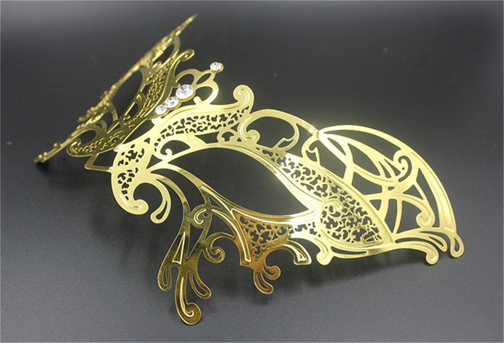 Face mask Shield Veil Guard Screen Domino False Front Venice Dance mask Butterfly Metal Diamonds Wedding mask Photo Props Gold and Silver Black COS mask Female 2 by PromMask (Image #2)