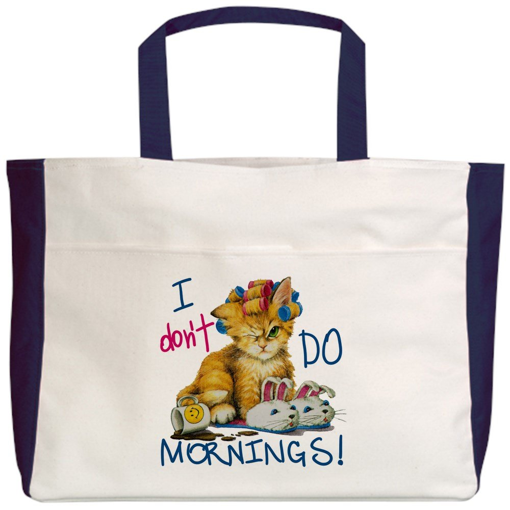 2-Sided I Dont Do Mornings Cat Royal Lion Beach Tote