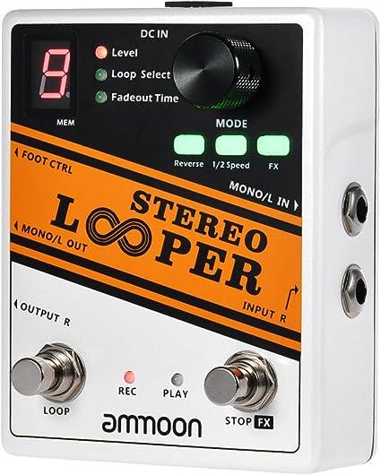 ammoon Looper Estereo Efecto Pedal de Guitarra Registro de Bucle ...