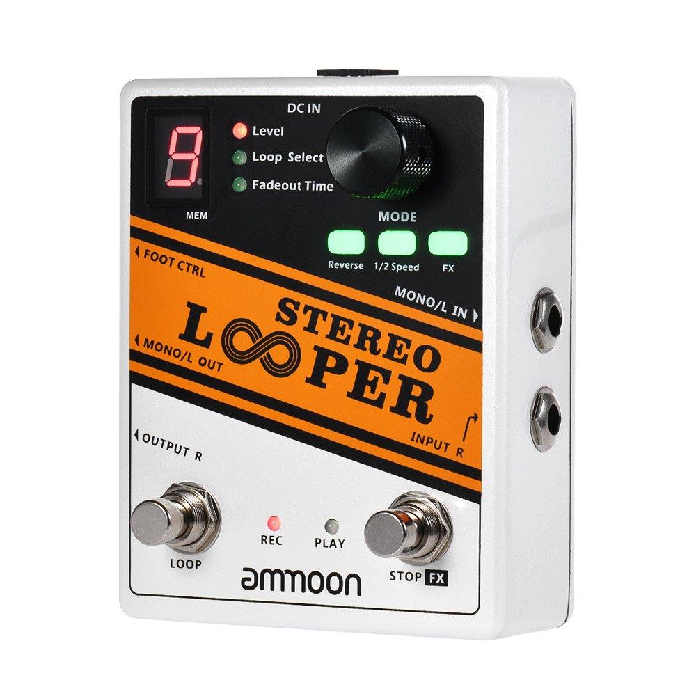 ammoon STEREO LOOPER Loop Record Gitarren effektpedal 10 Unabhängige Schleifen Max. 10min Aufnahmezeit für jede Schleife Unbegrenzt Overdubbing B074BNDD19