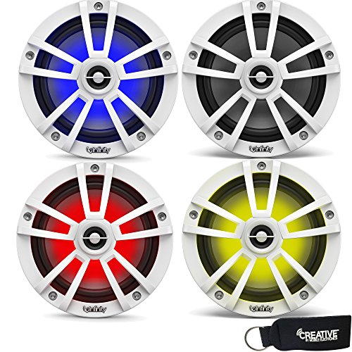 - Infinity Marine Bundle - Two Pairs of Infinity 622MLW Marine 6.5 Inch RGB LED Coaxial Speakers - White