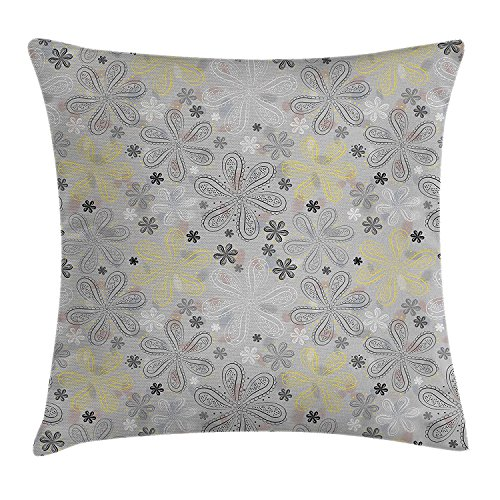 (Grey and Yellow Throw Pillow Cushion Cover, Ethnic Bohem Style Paisley Print Flowers Dots Art Image, Decorative Square Accent Pillow Case, 18 X 18 Inches, Light Grey Black and White)