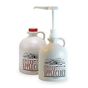 Mountain Cider Pack of 2 Spiced Apple Cider Concentrate Plus 1 Pump FREE | Gluten Free, No Preservatives, No Added Sugar | 64 fl. oz/bottle (128 servings)