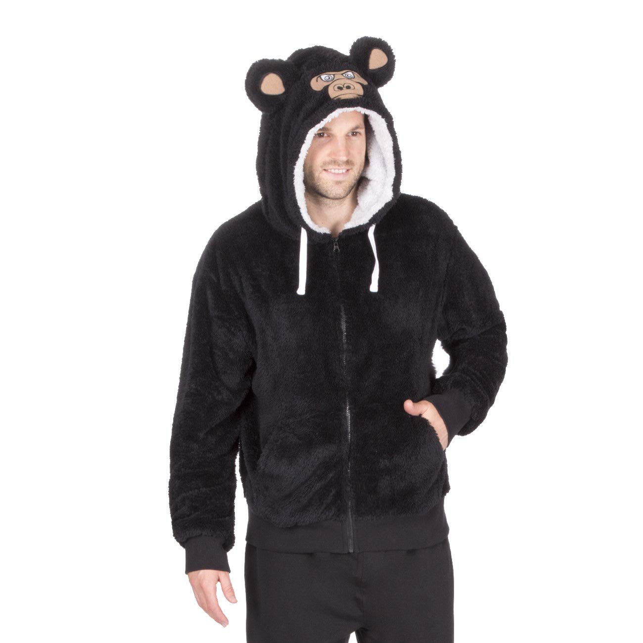 Mens Lounge Snuggle Top Jumper Fleece Cosy Monkey Wolf Hoodie Bed Coat Gown Zip