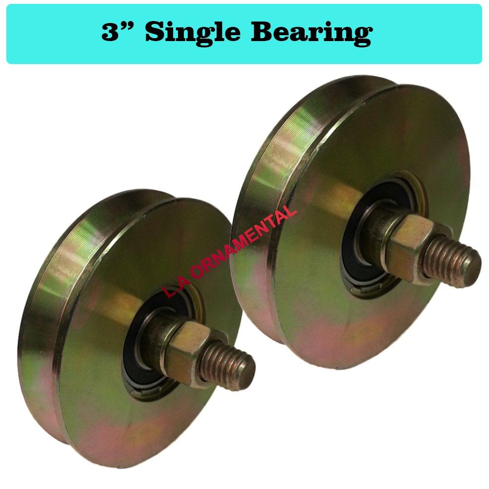 3'' V Groove Wheel Single Bearing Steel Driveway Gate Slide Rolling Wheel 2 PCS