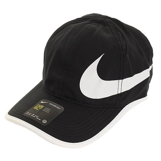 b0b9b1c2e0f6d Amazon.com  Nike Unisex Featherlite Aerobill Swoosh Hat Black White ...