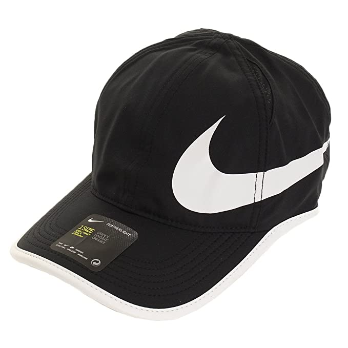 Amazon.com  Nike Unisex Featherlite Aerobill Swoosh Hat Black White ... 608ab553f1ae