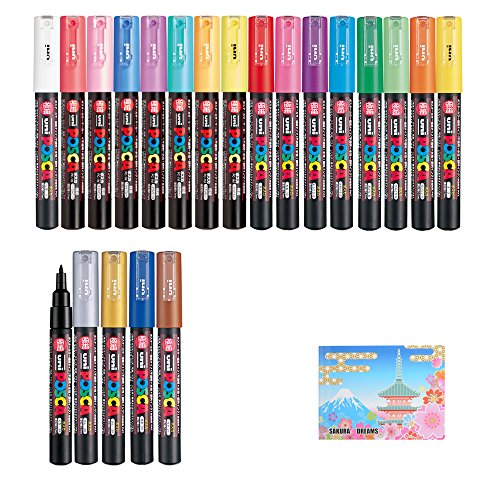 Uni Posca Paint Marker FULL RANGE Bundle Set , Mitsubishi Poster Colour ALL COLOR Marking Pen Extra Fine Point ( PC-1M ) 21 Colours ( 14 Standard & 7 Natural ) Japan Import , 5 Colors Sticky Notes